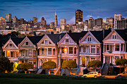 Blue Hour Framed Prints - Alamo Square Framed Print by Alexis Birkill