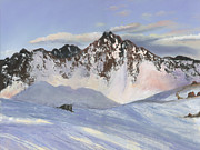 Nature Scene Paintings - Alamoots Winter Mountains by Cecilia  Brendel