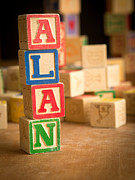 Names Posters - ALAN - Alphabet Blocks Poster by Edward Fielding