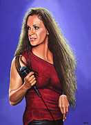 Rock Star Art Paintings - Alanis Morissette 2  by Paul  Meijering