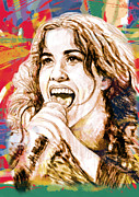Record Producer Prints - Alanis Morissette - stylised drawing art poster Print by Kim Wang