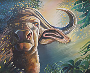 Cape Buffalo Paintings - Alarmed Bull by Anthony Mwangi
