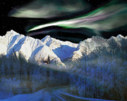 Alaska Greeting Cards Posters - Alaska Aurora Eagle Over Knik River Road  # DA 142 Poster by Dianne Roberson