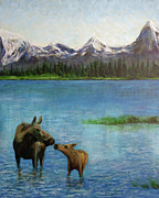 Calf Mixed Media - Alaska Lake by Kenny Henson