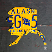 Travel  Mixed Media - Alaska License Plate Map Artwork by Design Turnpike