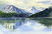 Alaska Painting Posters - Alaska Mountain Reflections Poster by Sharon Freeman