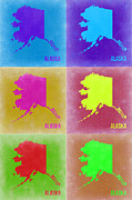 Alaska Pop Art Map 2 Print by Irina  March