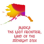 Alaska Digital Art - Alaska State Map Collection 2 by Andee Photography
