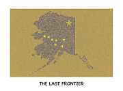 Kodiak Framed Prints - Alaska The Last Frontier Typography Map Poster Framed Print by Tawnya Apuan