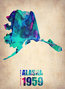 Alaska Posters - Alaska Watercolor Map Poster by Irina  March