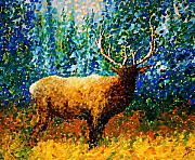 Alaskan Paintings - ALASKAN ELK Original MADART Painting by Megan Duncanson