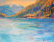 Winter Travel Pastels Prints - Alaskan  Fjord Print by Arlene Baller