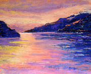 Winter Travel Pastels Prints - Alaskan Fjord II Print by Arlene Baller