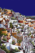 History Painting Framed Prints - alba a Santorini Framed Print by Guido Borelli