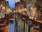 Bridge Painting Framed Prints - alba a Venezia  Framed Print by Guido Borelli