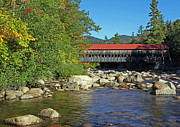 Autumn Photographs Photos - Albany Covered Bridge in the White Mountains by Juergen Roth