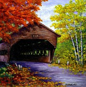 Covered Bridge Painting Metal Prints - Albany Covered Bridge Metal Print by Sandra Estes