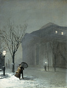 Lighted Street Framed Prints - Albany in the Snow Framed Print by Walter Launt Palmer