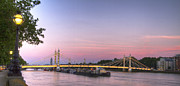 London Scenes Prints - Albert Bridge at Dusk Print by David French