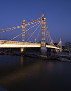 Ltd. Edition Framed Prints - Albert Bridge London Thames at night  Framed Print by David French