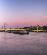 London Scenes Prints - Albert Bridge London Thames at night Dusk Print by David French