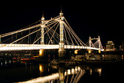 City Lights Photos - Albert Bridge Reflections by Stuart Perkins