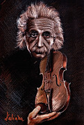 Violin Drawings - Albert Einstein and Violin by Daliana Pacuraru