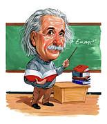 Caricatures Paintings - Albert Einstein by Art