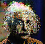 Brainy Framed Prints - Albert Einstein Framed Print by Daniel Hagerman