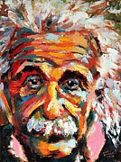 Math Paintings - Albert Einstein by Derek Russell