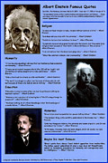 Albert Einstein Framed Prints - Albert Einstein Famous Quotes Framed Print by Albert Einstein