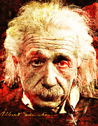 Unique Art Digital Art Framed Prints - Albert Einstein  Framed Print by Juan Jose Espinoza