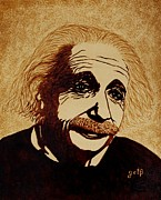 Pop Icon Paintings - Albert Einstein Original Coffee Painting by Georgeta  Blanaru