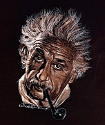 Albert Drawing Drawings Posters - Albert Einstein Portrait Poster by Daliana Pacuraru