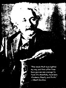 Ideals Framed Prints - Albert Einstein Quote - Ideals - 1931 Litho Framed Print by Padre Art