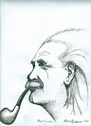 Richie Montgomery Drawings - Albert Einstein by Richie Montgomery