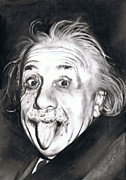 Einstein Drawings - Albert Einstein by Shane Cunningham