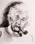 Albert Drawing Drawings Posters - Albert Einstein Poster by Sydni Kruger