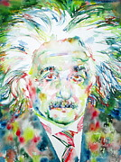 Picture Paintings - Albert Einstein Watercolor Portrait by Fabrizio Cassetta
