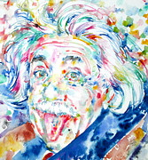 Albert Einstein Framed Prints - Albert Einstein Watercolor Portrait.2 Framed Print by Fabrizio Cassetta
