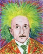 Geek Drawings Posters - Albert Einstein Poster by Yoshiko Mishina