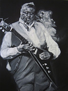 Bass Drawings Prints - Albert King Print by Steve Hunter