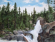 Park Scene Paintings - Alberta Falls by Denny Dowdy