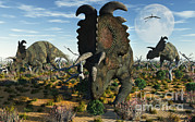 Bare Trees Metal Prints - Albertaceratops Dinosaurs Grazing Metal Print by Mark Stevenson