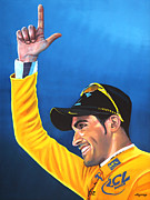 Cycling Art Paintings - Alberto Contador by Paul  Meijering