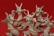 Dragons Photos - Albino Toy Dragons by Linda Phelps