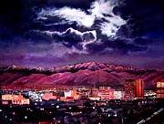 Albuquerque Paintings - Albuquerque New Mexico at night 112413 by Georgann Micono
