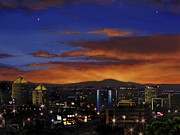 Albuquerque Paintings - Albuquerque New Mexico skyline west at night 112913 by Georgann Micono
