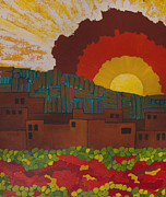 Sun Rays Painting Originals - Albuquerque NM by Lena Wilhite