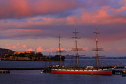 Historic Schooner Photos - Alcatraz and Schooner by Bill Keiran